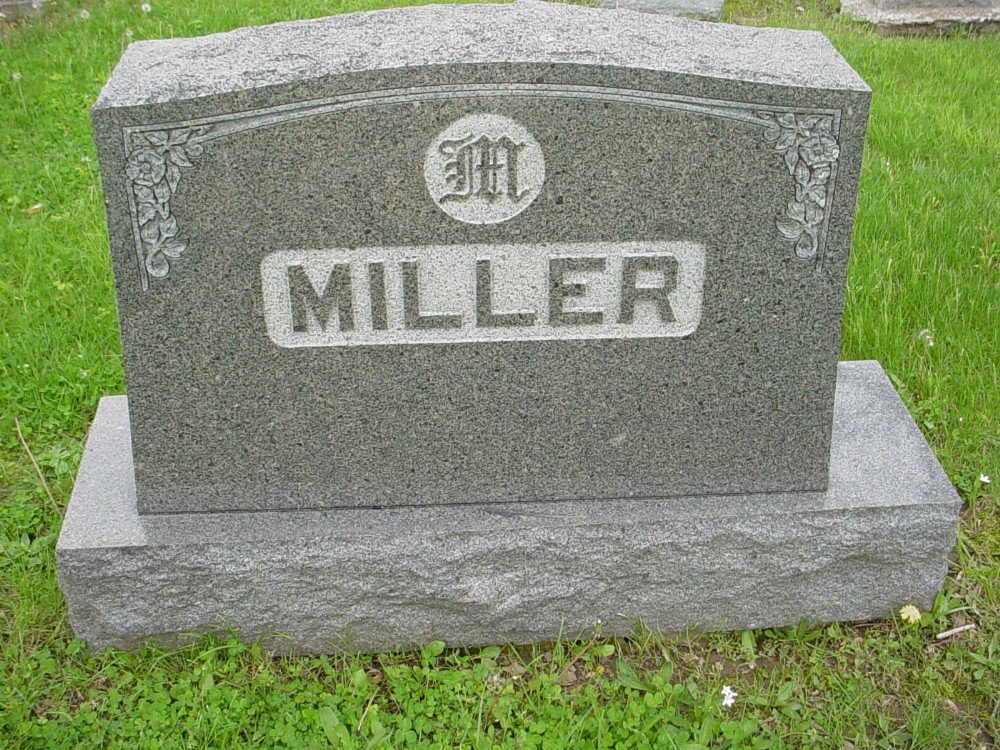 Miller family Headstone Photo, Hillcrest Cemetery, Callaway County genealogy