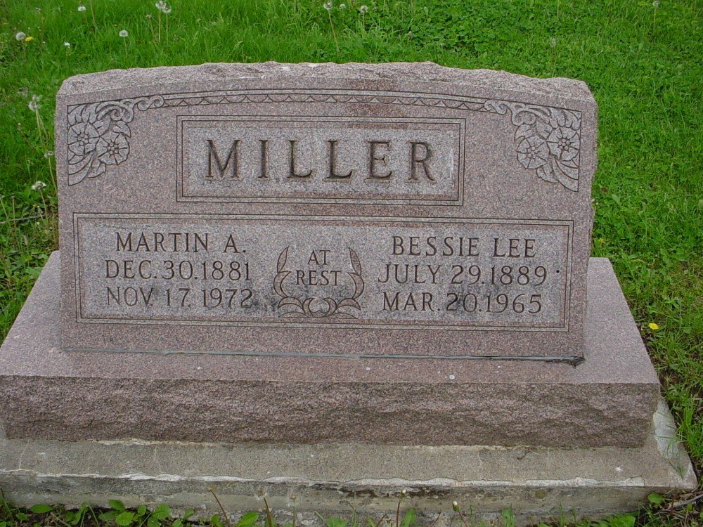 Martin A. & Bessie L. Miller Headstone Photo, Hillcrest Cemetery, Callaway County genealogy