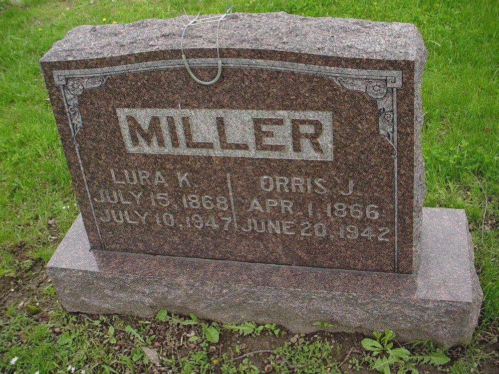 Orris & Lura Miller Headstone Photo, Hillcrest Cemetery, Callaway County genealogy