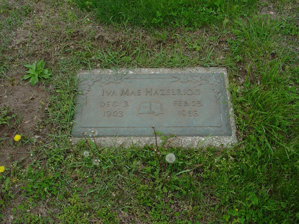 Iva Mae Ridgel Hazelrigg Headstone Photo, Hillcrest Cemetery, Callaway County genealogy