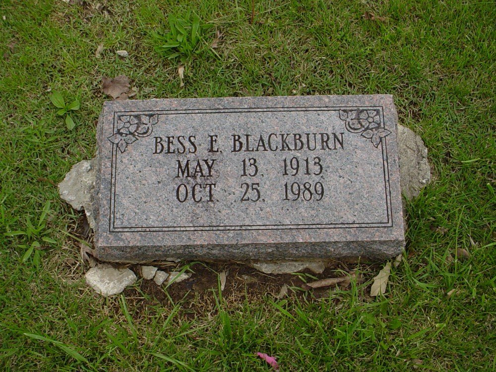 Bess E. Blackburn Headstone Photo, Hillcrest Cemetery, Callaway County genealogy