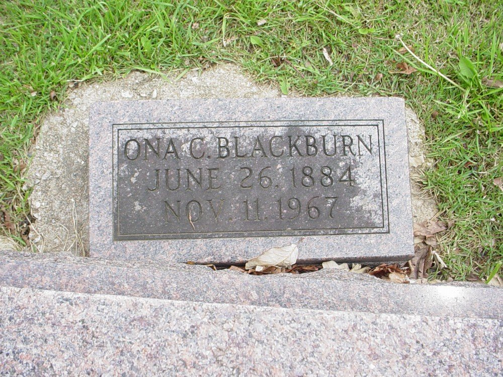 Ona Crews Blackburn Headstone Photo, Hillcrest Cemetery, Callaway County genealogy
