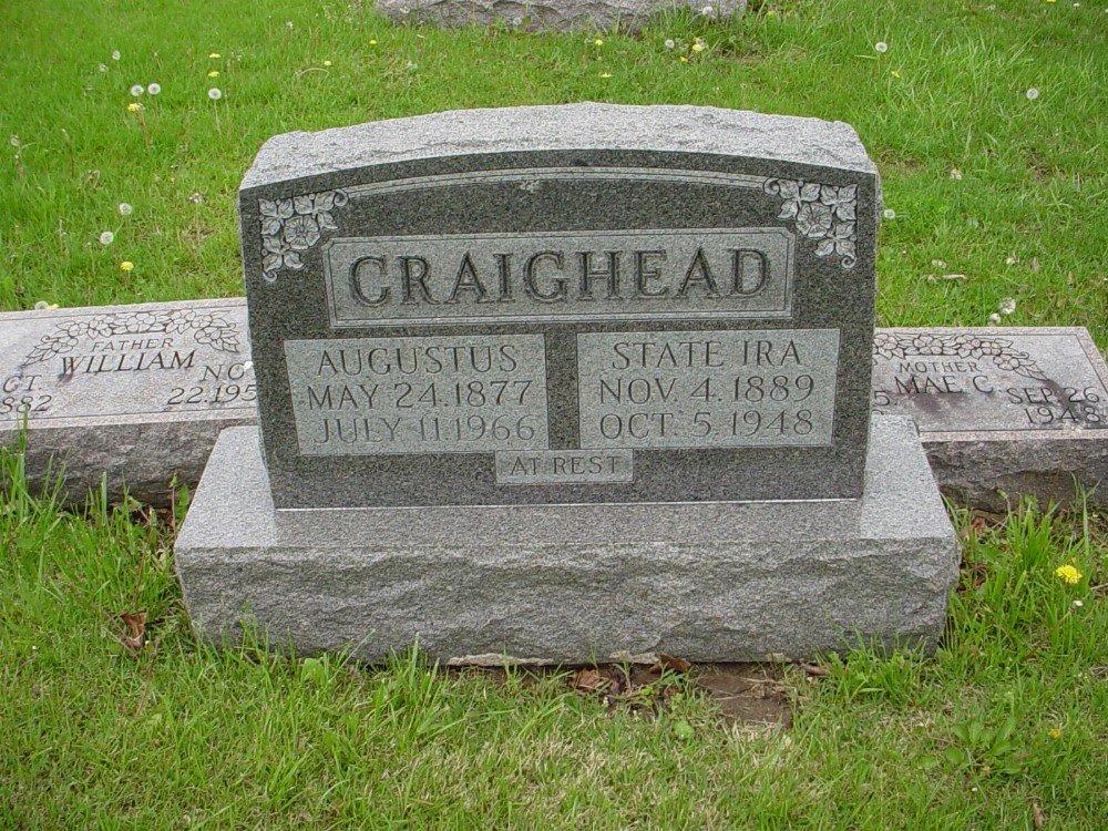 Solomon Augustus Craighead & State Ira Davis Headstone Photo, Hillcrest Cemetery, Callaway County genealogy