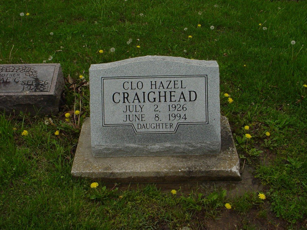 Chloe Hazel Craighead Headstone Photo, Hillcrest Cemetery, Callaway County genealogy