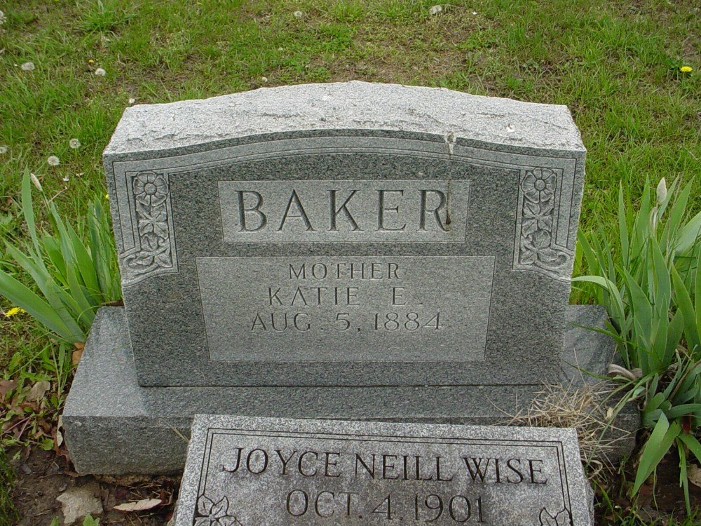 Katie Ella Petri Baker Headstone Photo, Hillcrest Cemetery, Callaway County genealogy