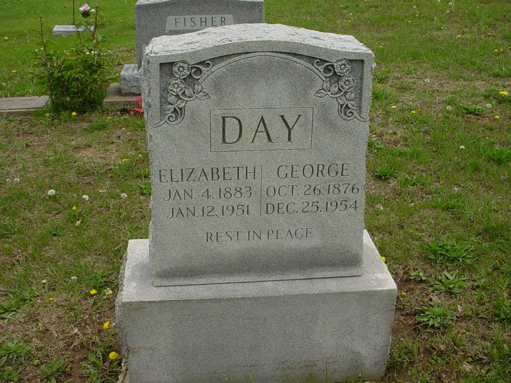 George W. Day and Mary Elizabeth Fisher Headstone Photo, Hillcrest Cemetery, Callaway County genealogy
