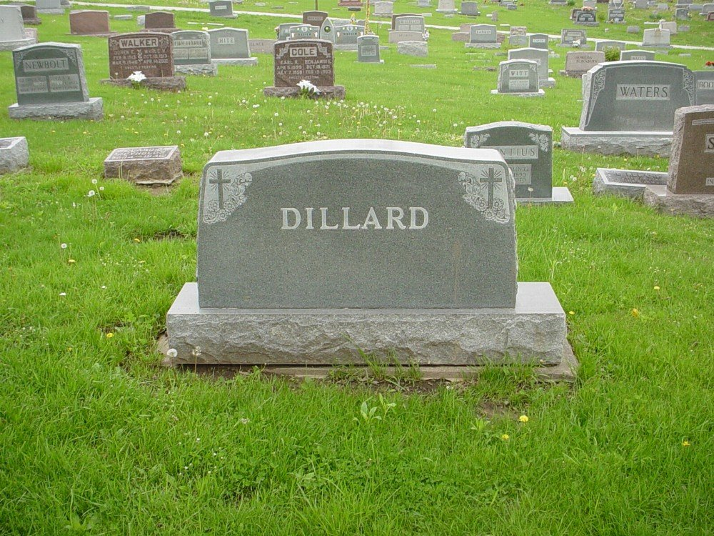 Dillard family Headstone Photo, Hillcrest Cemetery, Callaway County genealogy