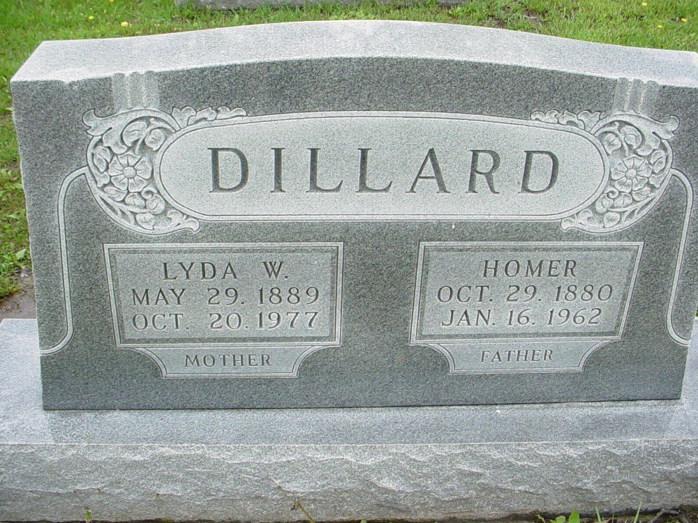 Homer & Lyda Dillard Headstone Photo, Hillcrest Cemetery, Callaway County genealogy