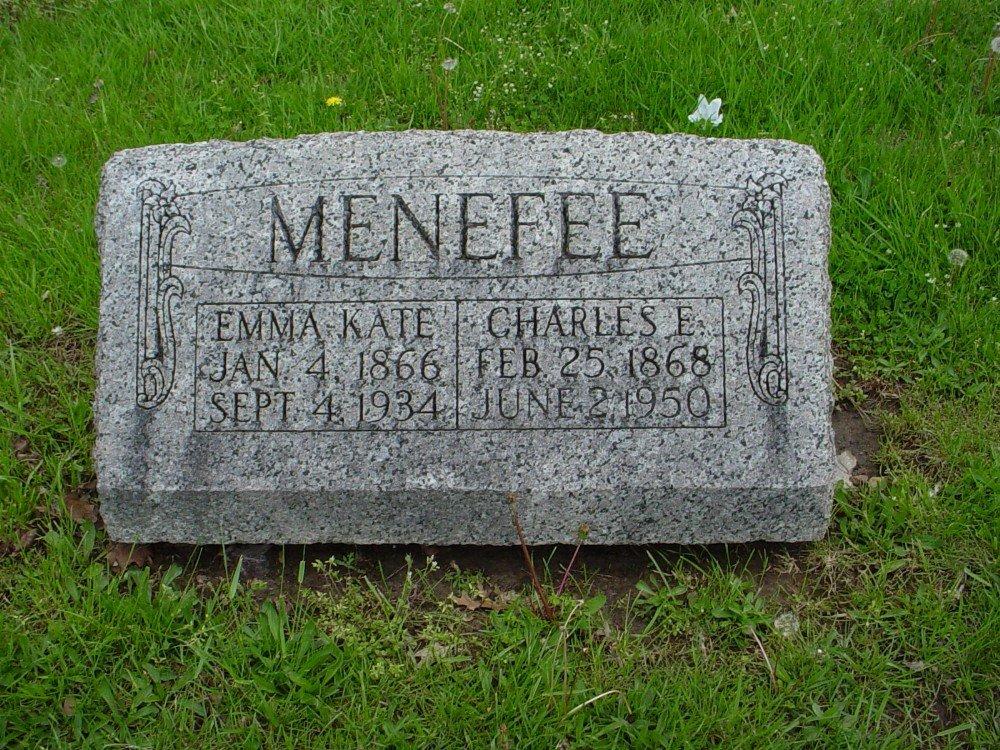 Charles E. Menefee & Emma K. Neill Headstone Photo, Hillcrest Cemetery, Callaway County genealogy