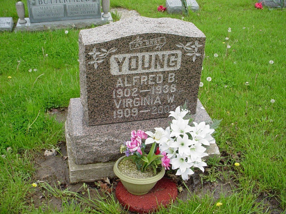 Alfred B. Young & Virginia Wise Headstone Photo, Hillcrest Cemetery, Callaway County genealogy