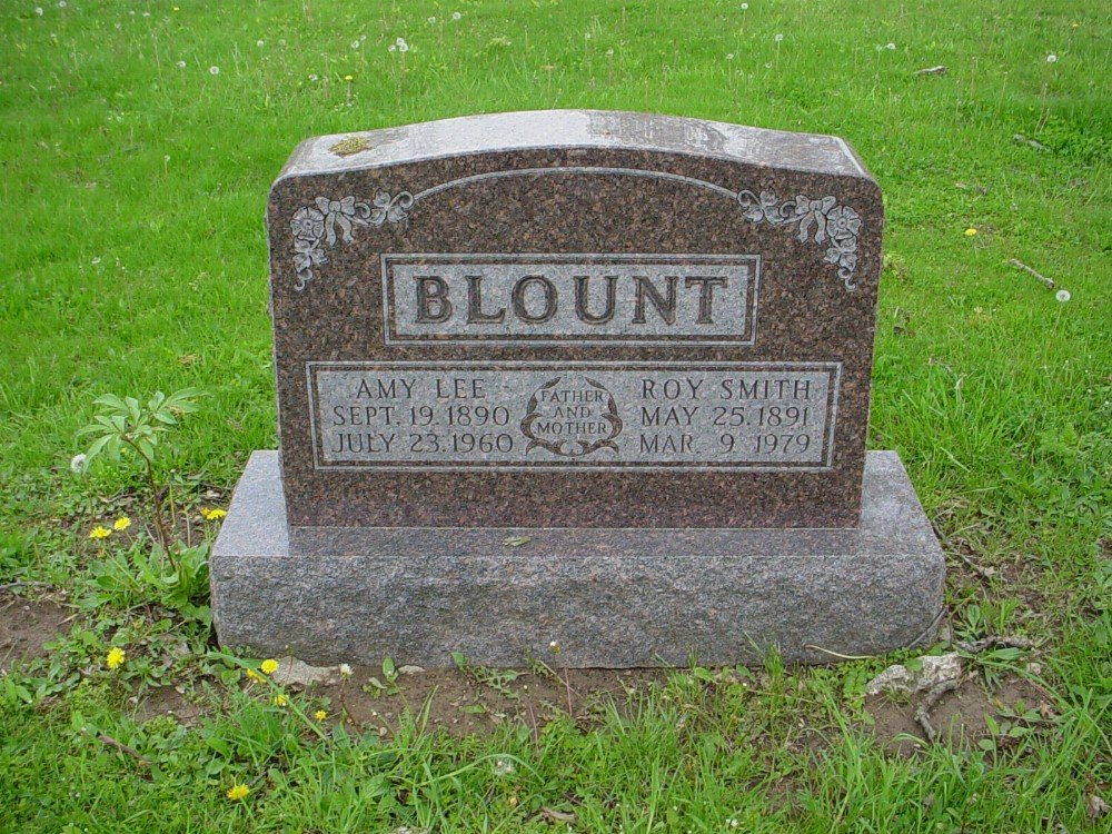 Roy S. Blount & Amy L. Hughes Headstone Photo, Hillcrest Cemetery, Callaway County genealogy