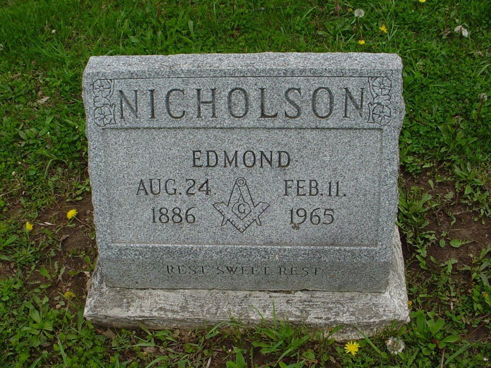 Edmond Nicholson Headstone Photo, Hillcrest Cemetery, Callaway County genealogy