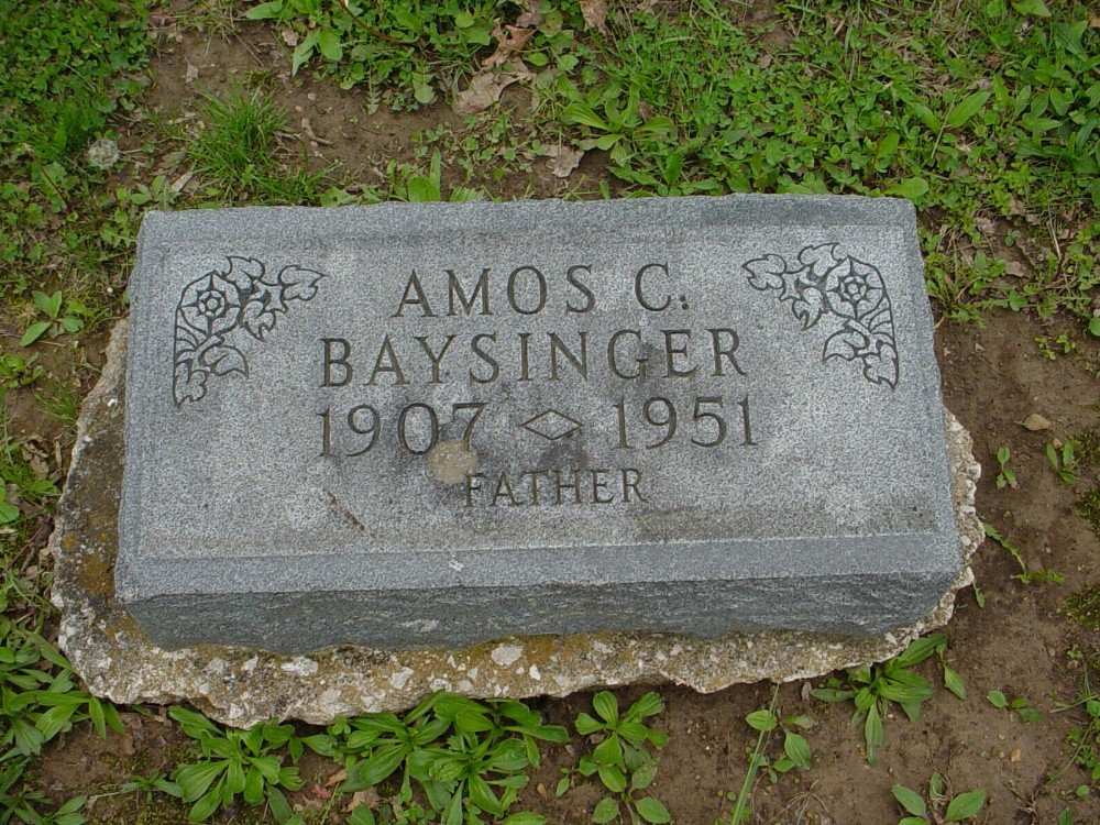 Amos C. Baysinger Headstone Photo, Hillcrest Cemetery, Callaway County genealogy