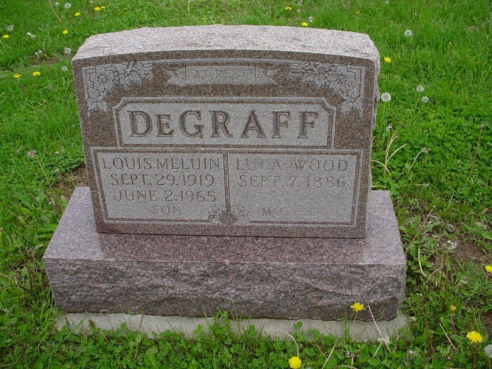 Louis M. DeGraff & Lula Wood DeGraff Headstone Photo, Hillcrest Cemetery, Callaway County genealogy