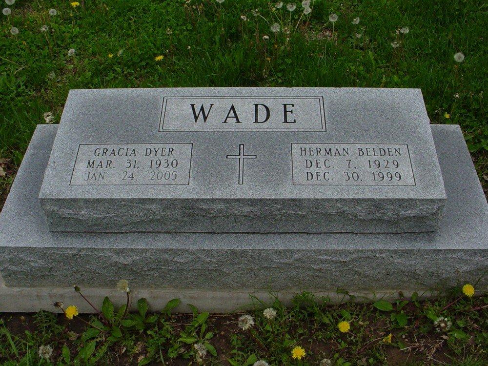 Herman B. Wade & Garcia Dyer Headstone Photo, Hillcrest Cemetery, Callaway County genealogy