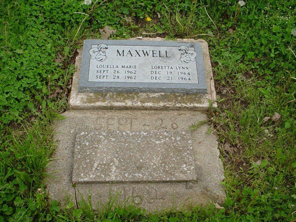 Louella M. & Loretta L. Maxwell Headstone Photo, Hillcrest Cemetery, Callaway County genealogy