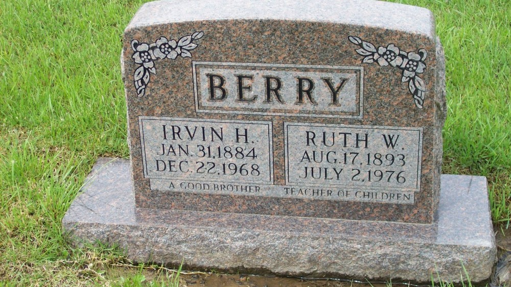 Irvin H. & Ruth W. Berry Headstone Photo, Hillcrest Cemetery, Callaway County genealogy