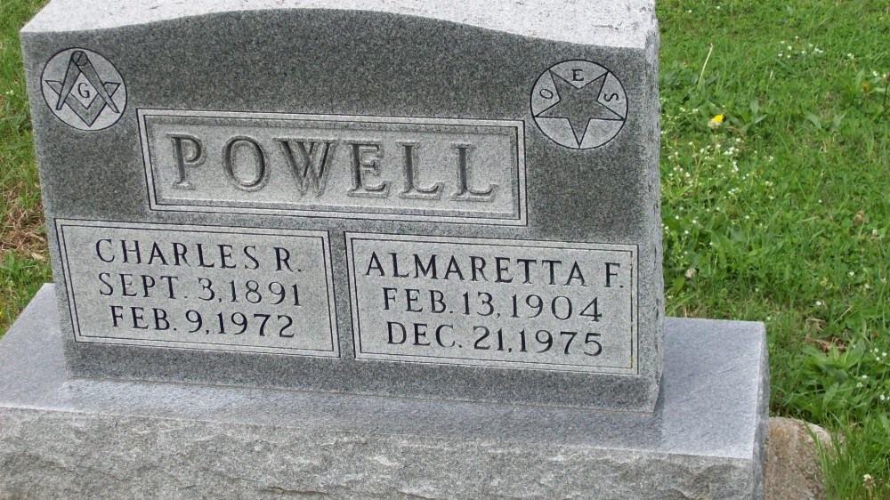 Charles R. Powell & Almaretta Frank Headstone Photo, Hillcrest Cemetery, Callaway County genealogy