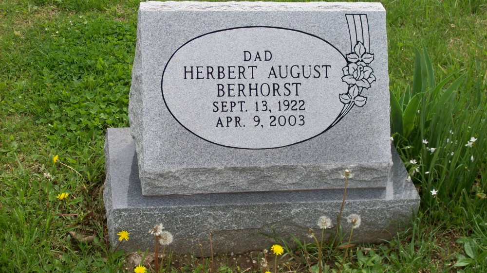 Herbert August Berhorst Headstone Photo, Hillcrest Cemetery, Callaway County genealogy