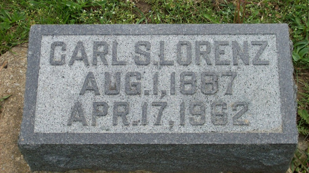 Carl S. Lorenz Headstone Photo, Hillcrest Cemetery, Callaway County genealogy