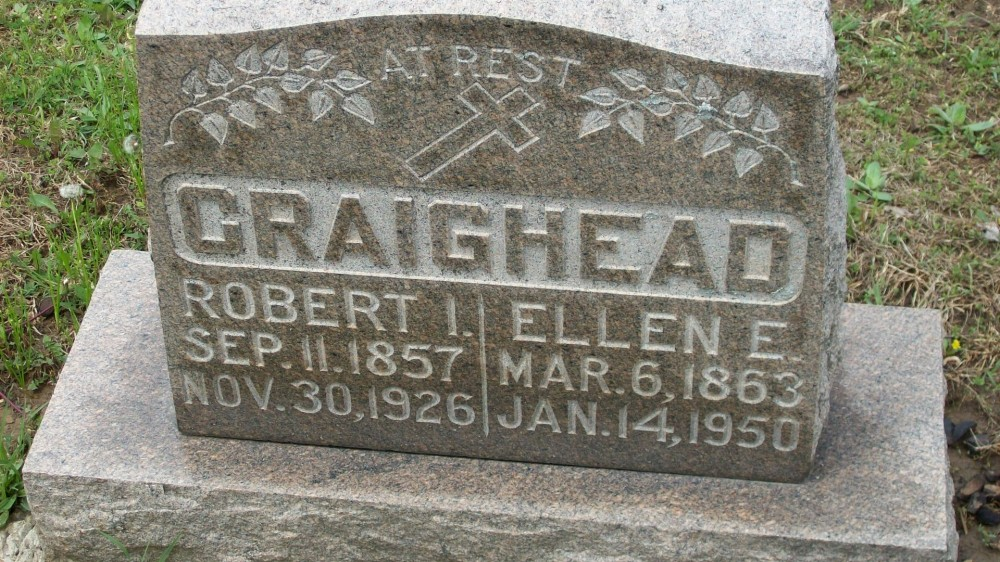 Robert I. Craighead & Ellen E. Madigan Headstone Photo, Hillcrest Cemetery, Callaway County genealogy