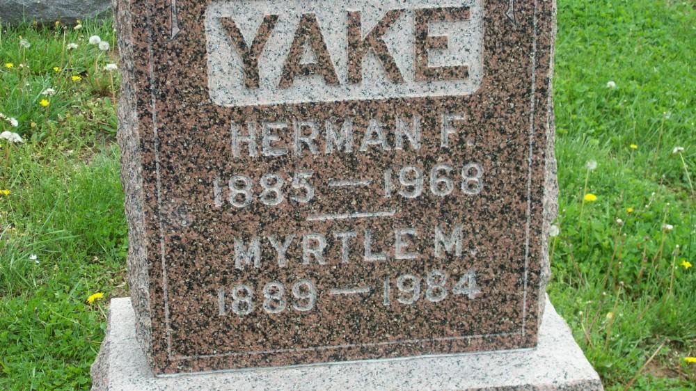 Herman F. Yake & Myrtle M. Henderson Headstone Photo, Hillcrest Cemetery, Callaway County genealogy