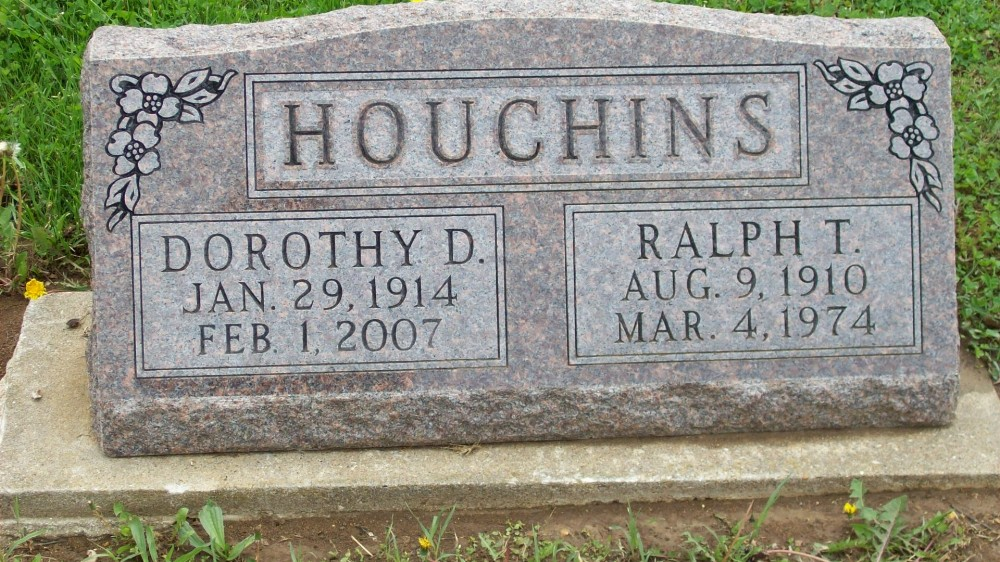 Ralph T. Houchins & Dorothy D. Yake Headstone Photo, Hillcrest Cemetery, Callaway County genealogy