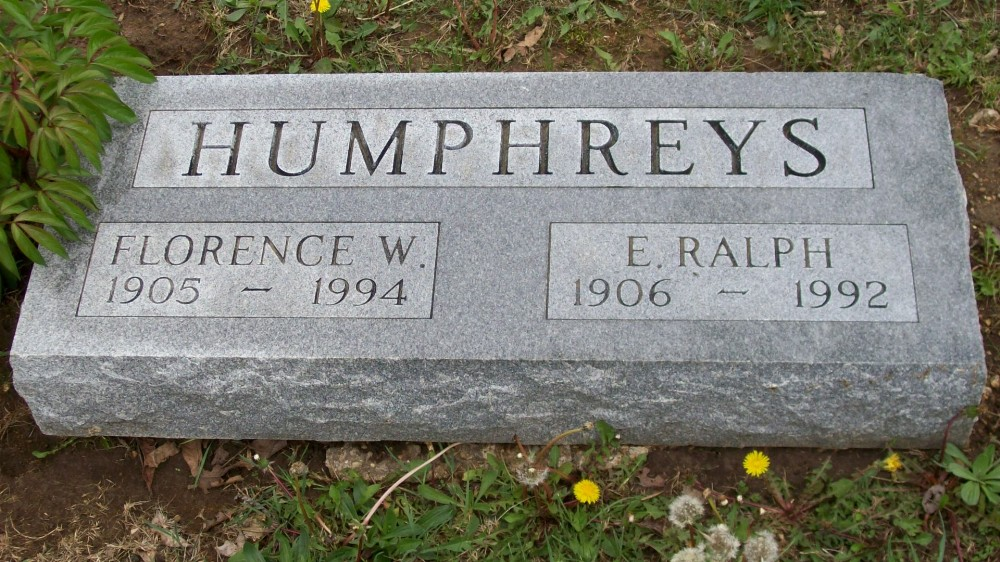 E. Ralph & Florence W. Humphreys Headstone Photo, Hillcrest Cemetery, Callaway County genealogy