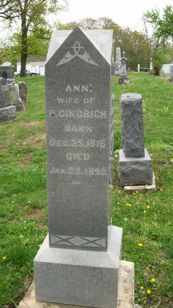 Ann Stoufer Gingrich Headstone Photo, Hillcrest Cemetery, Callaway County genealogy