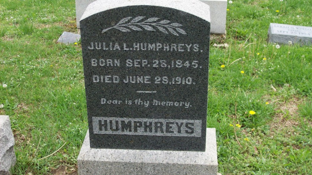 Julia L. Slaughter Humphreys Headstone Photo, Hillcrest Cemetery, Callaway County genealogy