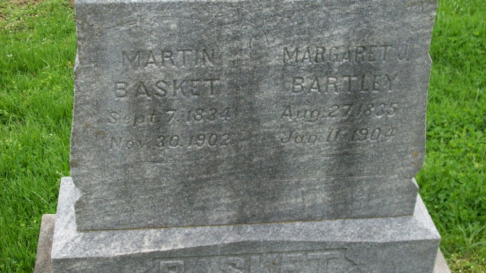 Martin Basket and Margaret Bartley Headstone Photo, Hillcrest Cemetery, Callaway County genealogy