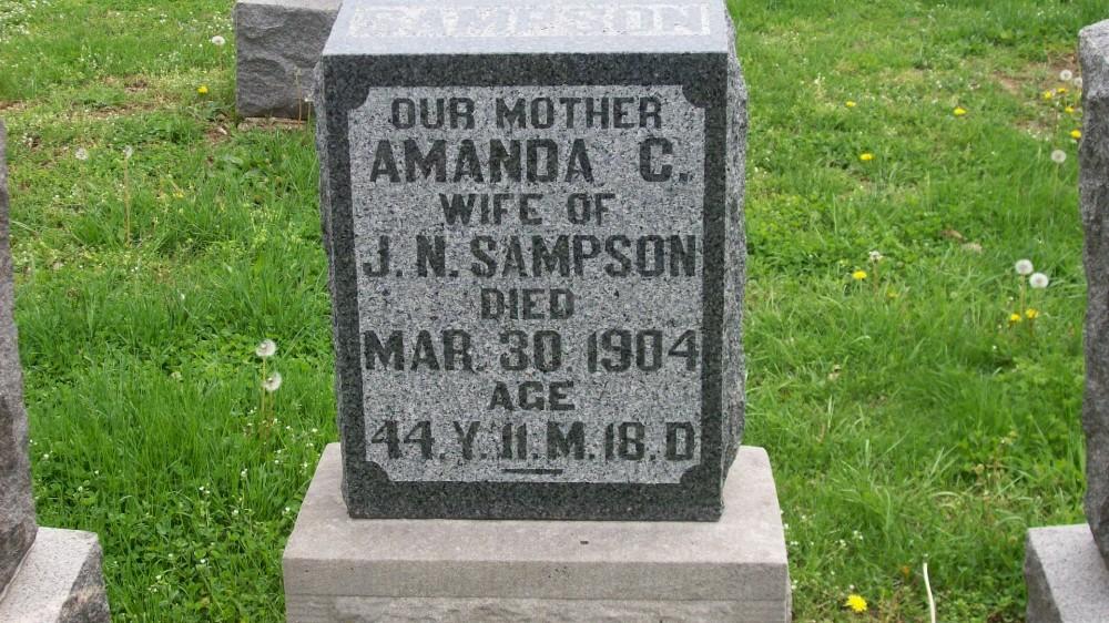Amanda Smart Sampson Headstone Photo, Hillcrest Cemetery, Callaway County genealogy