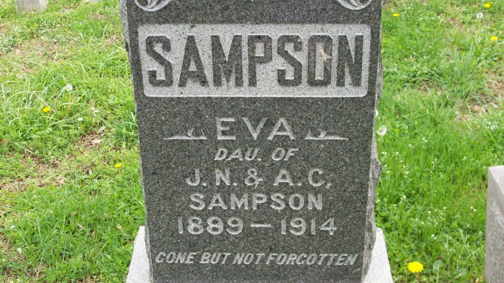 Eva Sampson Headstone Photo, Hillcrest Cemetery, Callaway County genealogy