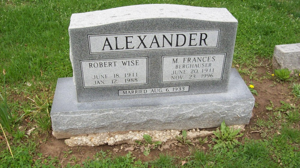 Robert W. Alexander & Mary F. Berghauser Alexander Headstone Photo, Hillcrest Cemetery, Callaway County genealogy