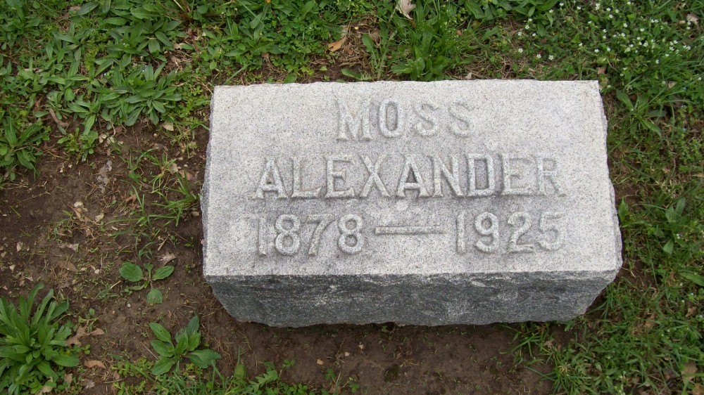 William Moss Alexander Headstone Photo, Hillcrest Cemetery, Callaway County genealogy