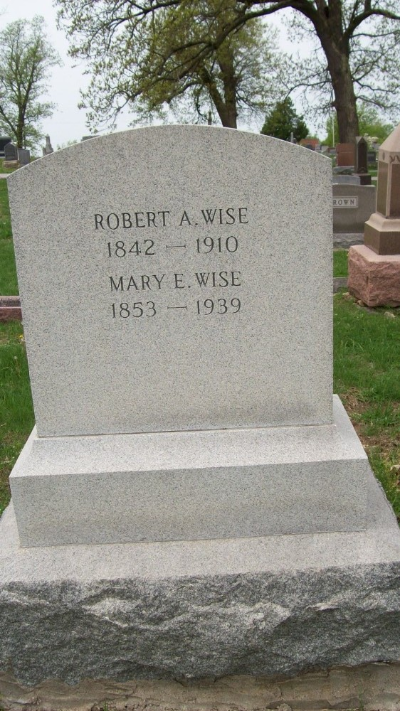 Robert Wise and Mary Collier Headstone Photo, Hillcrest Cemetery, Callaway County genealogy
