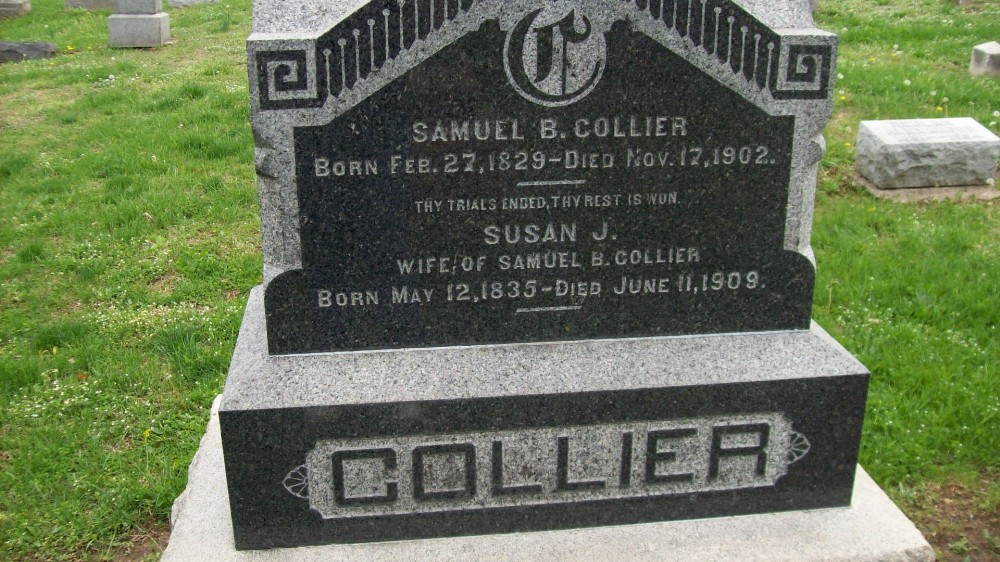 Samuel B. Collier & Susan J. Nichols Headstone Photo, Hillcrest Cemetery, Callaway County genealogy