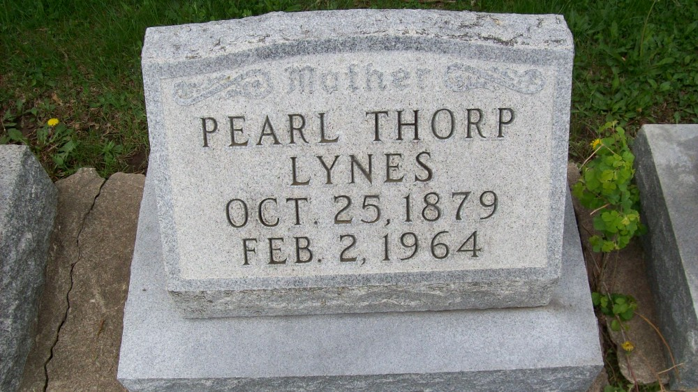 Pearl Thorp Lynes Headstone Photo, Hillcrest Cemetery, Callaway County genealogy