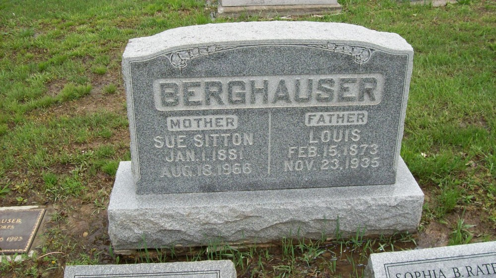 Louis Berghauser & Sue Belle Sitton Headstone Photo, Hillcrest Cemetery, Callaway County genealogy