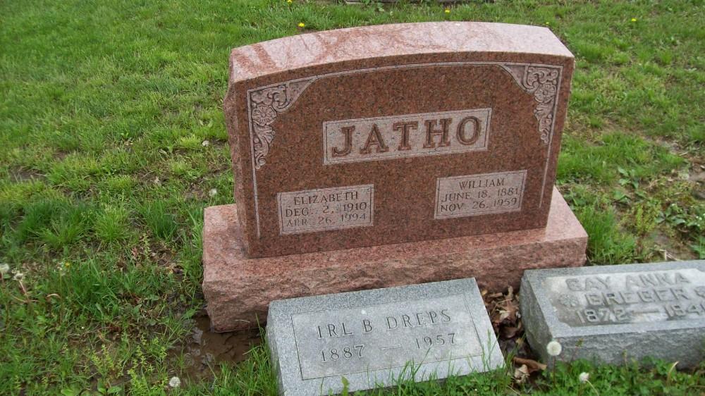 William & Elizabeth Jatho Headstone Photo, Hillcrest Cemetery, Callaway County genealogy