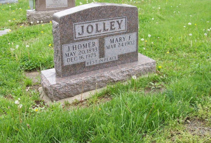 Joseph Homer & Mary F. Jolley Headstone Photo, Hillcrest Cemetery, Callaway County genealogy