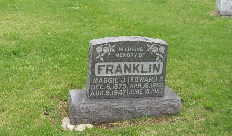 Edward P. Franklin & Maggie J. Kemp Headstone Photo, Hillcrest Cemetery, Callaway County genealogy