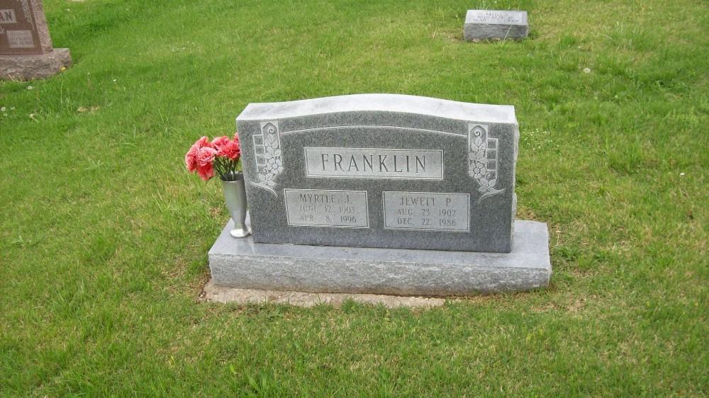 Jewett P. Franklin & Myrtle F. Jatho Headstone Photo, Hillcrest Cemetery, Callaway County genealogy