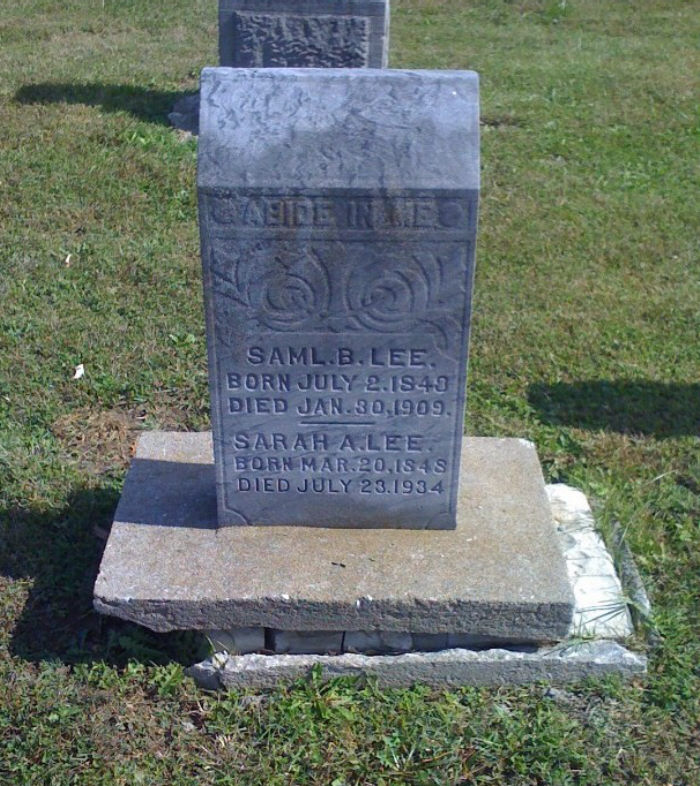 Samuel & Sarah Lee Headstone Photo, Hillcrest Cemetery, Callaway County genealogy