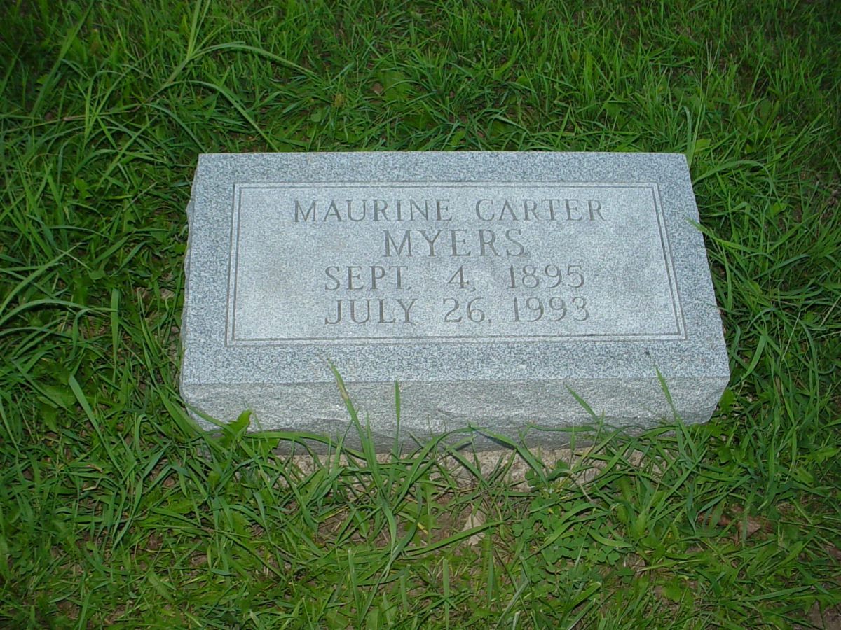 Maurine Carter Myers Headstone Photo, Hillcrest Cemetery, Callaway County genealogy