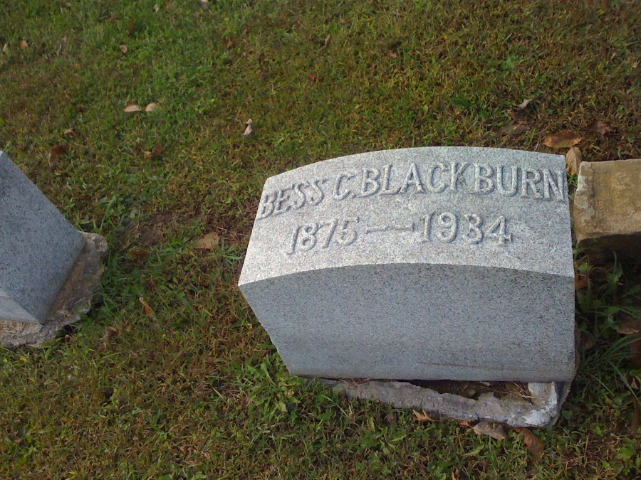 Elizabeth Carter Blackburn Headstone Photo, Hillcrest Cemetery, Callaway County genealogy