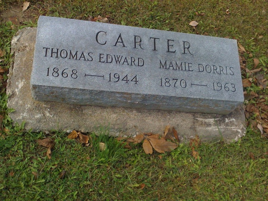Thomas Edward Carter & Mamie Dorris Headstone Photo, Hillcrest Cemetery, Callaway County genealogy