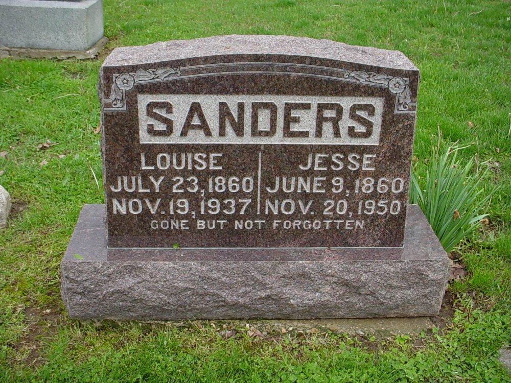 Jesse B. Sanders & Louise Fleming Headstone Photo, Hillcrest Cemetery, Callaway County genealogy