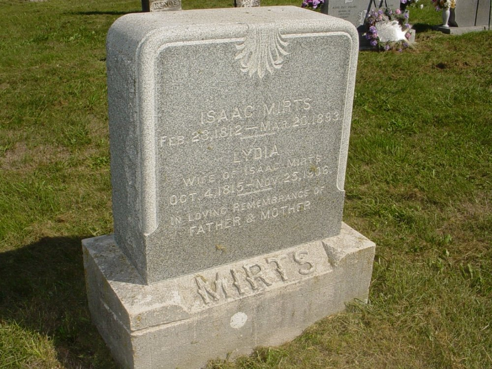 Isaac Mirts and Lydia Sayder Headstone Photo, Mount Carmel Cemetery, Callaway County genealogy