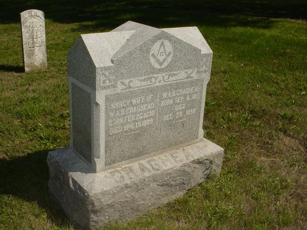William A.B. Craghead and Nancy May Headstone Photo, Mount Carmel Cemetery, Callaway County genealogy